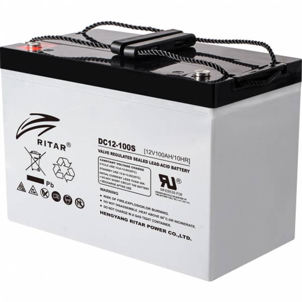 Bilde av RITAR AGM Deep Cycle Batteri 12V 100AH (307x169x211mm) +venstre